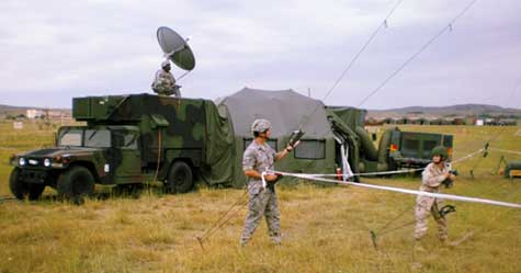 Military field communications site, photo courtesy of  the U.S. Army, by AFN-Europe.